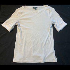 Ralph Lauren (L) Women's Half Sleeve White Shirt